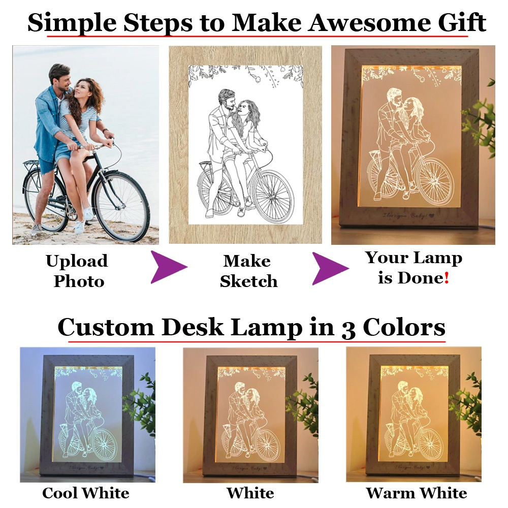 Custom Made 3D Illusion LED Light with Wooden Frame