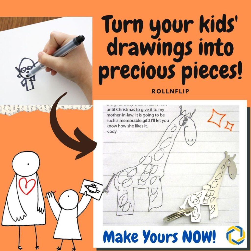 Children drawing keychain_rollnflip