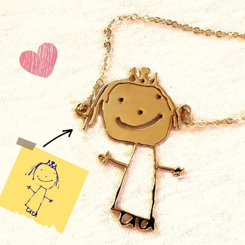 Kid Drawing Necklace for Mother