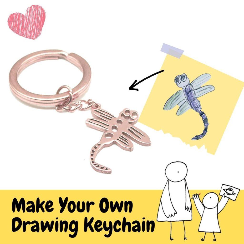 dragonfly kid drawing keychain_RollnFlip