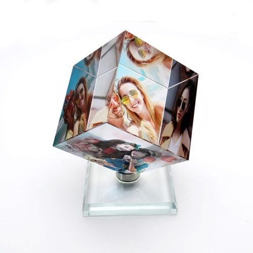 Personalized Spinning Photo Crystal Cube