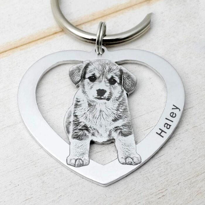pet dog keychain (heart design in sketch finish)