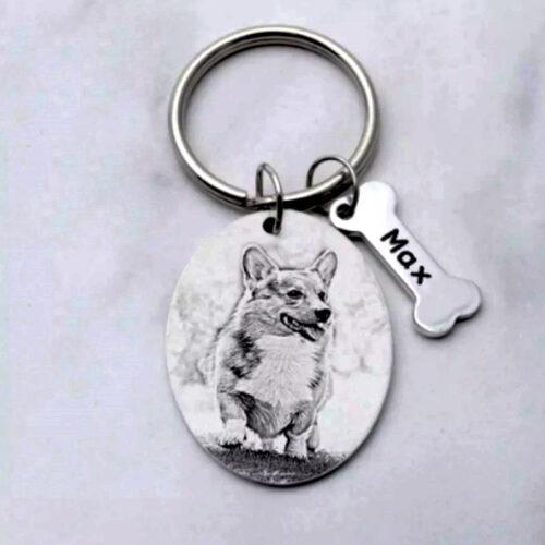 pet dog keychain (oval shape in sketch finish)