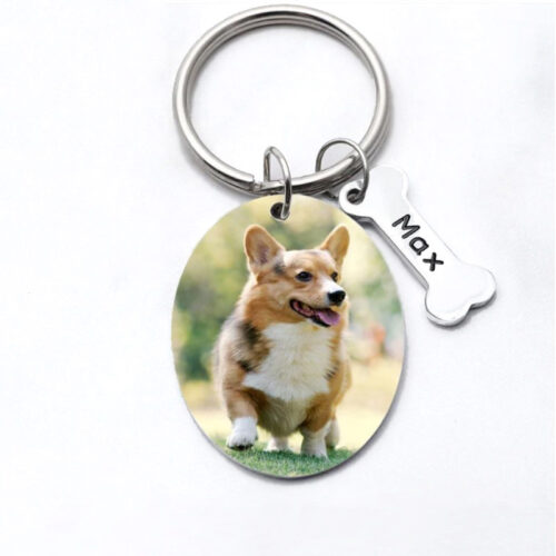 pet dog keychain (oval shape in color finish)