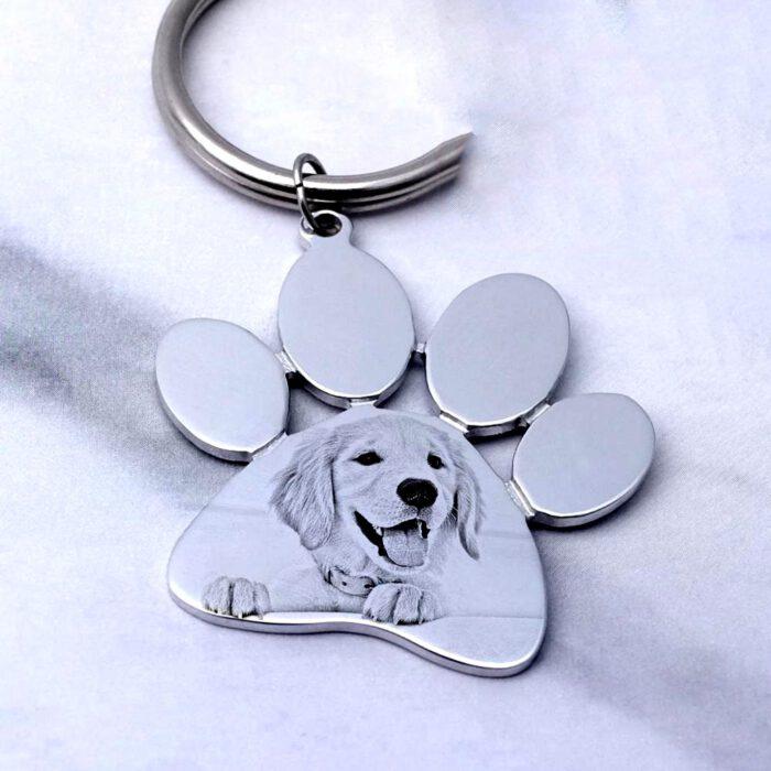 pet dog keychain (paw shape in sketch finish)