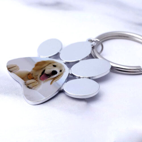 pet dog keychain (paw shape in color finish)