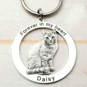 cat pet keychain (ring shape in sketch finish)