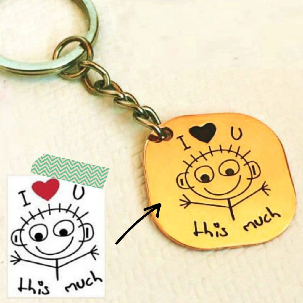 child's unique drawing keychain