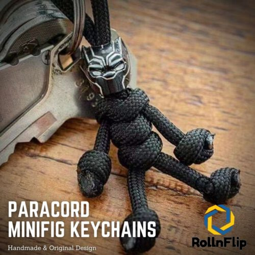 Black Panther Paracord Minifig Keychain