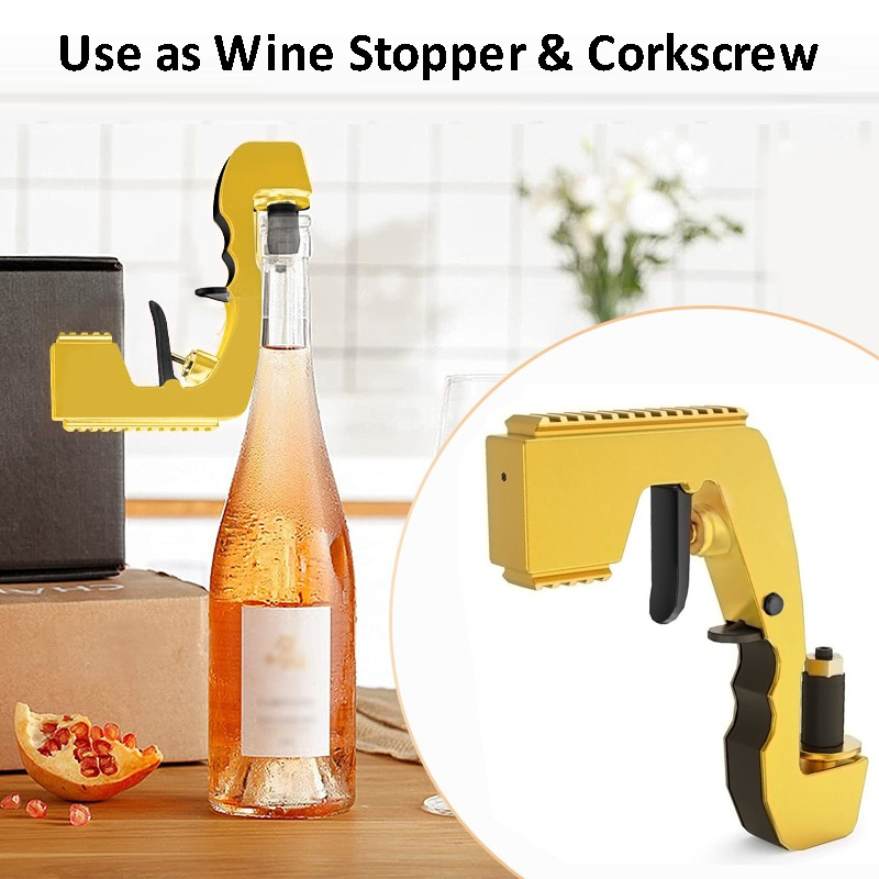 2-in-1 Wine Stopper & Champagne Sprayer as corkscrew