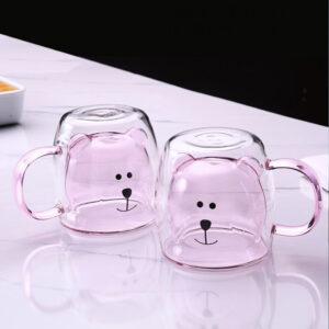 Lovely Double Wall Glass handled Mug
