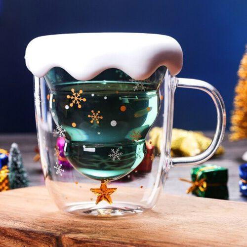 Double Wall Christmas Tree Glass Mug
